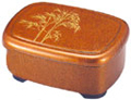 Bento Box with Lid - Gold Bamboo Motif, 7 x5