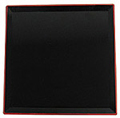 Japanese Tray, 14 Square Black Tray w/ Red Trim