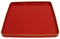 14  Square Lacquer Brick Red Tray w/ Gold Trim