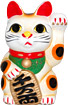 White Color, Maneki Neko Lucky Cat w/ Left Hand Raised, 6