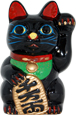 Black Color, Maneki Neko Lucky Cat w/ Left Hand Raised, 6
