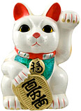White Color, Maneki Neko Lucky Cat w/ Left Hand Raised, 12-3/4 H