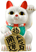 White Color, Maneki Neko Lucky Cat w/ Left Hand Raised, 15-1/2 H
