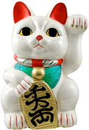 White Color, Maneki Neko Lucky Cat w/ Left Hand Raised, 18 H