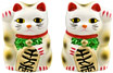White Color, Maneki Neko Lucky Cat Pair Right/Left Hand Raised, 2-1/2H