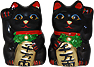 Black Color, Maneki Neko Lucky Cat Pair Right/Left Hand Raised, 2-1/2 H
