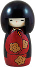Indian Summer in Red, Kokeshi Doll, 5.6H