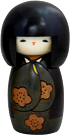 Indian Summer in Green, Kokeshi Doll, 5.6H