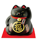 Cute Lucky Cat in Black, w/ Left Hand Raised, 8-1/4