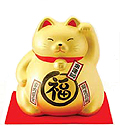 Cute Lucky Cat in Gold, w/ Left Hand Raised, 8-1/4