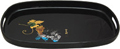 Japanese Black Lacquer Oval Tray - Grapes, 16.5 L