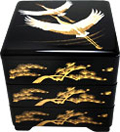 Black Lacquer Stack Box with Two Flying Cranes, 7-3/4 W