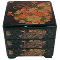 Black Lacquer Stack Box with Peonies & Chrysanthemums, 7-3/4 W