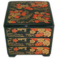 Black Lacquer Stack Box with Plum Flowers, 7-3/4 W