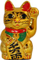 Gold Color, Maneki Neko Lucky Cat w/ Left Hand Raised, 6 H