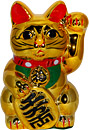 Gold Color, Maneki Neko Lucky Cat w/ Left Hand Raised, 10 H