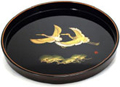 Japanese Round Black Lacquer Tray - Two Cranes, 12 D