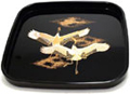 Japanese Square Lacquer Tray - Two Flying Cranes, 10.5L