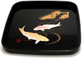 Japanese Square Lacquer Tray - Koi Fish, 10.5 L
