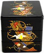 3 Tier, Black Lacquer Stack Box with Origami Crane, Small - 3.5 W