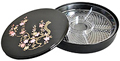 1 Tier Black Lacquer Tray - Sakura, 11.5 D