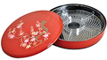 1 Tier Red Lacquer Tray - Sakura, 11.5 D