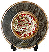 Dragon Theme, Red on Marble Design 6  Chokin Plate