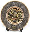Dragon Theme, Red on Marble Design 8  Chokin Plate