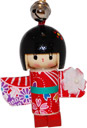 Wooden Lucky Charm, Doll with Red Wooden Shoes