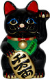 Black Maneki Neko Lucky Cat w/ Left Hand Raised, 7 H