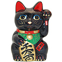 Black Maneki Neko Lucky Cat w/ Left Hand Raised, 8 H
