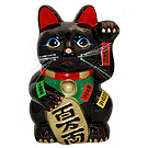 Black Maneki Neko Lucky Cat w/ Left Hand Raised, 10 H