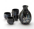 Sake Set - 1&4, Cherry Blossom with Blue Highlights on Black