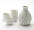 Sake Set - 1&4, White with Cherry Blossom