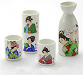 Sake Set - 1&4, Japanese Lady Painting