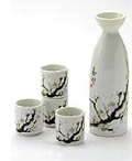 Sake Set - 1&4, Japanese Cherry Blossom Painting