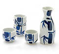 Sake Set - 1&4, Blue/White Bamboo