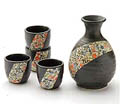 Sake Set - 1&4, Japanese Floral Ribbon