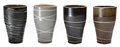 4 Juice Cups/Set, Assorted Zen Design in Earthen Colors