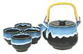 1&4, Japanese Tea Set, Black w/Blue Edge, 24 oz