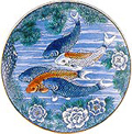 Japanese Decorative Serving Plate - Koi Carps, 12.5 D