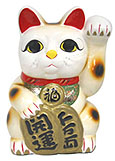 White Color, Maneki Neko Lucky Cat w/ Left Hand Raised, 12