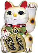 White Color, Maneki Neko Lucky Cat w/ Left Hand Raised, 15