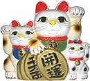 White Color, Triple Maneki Neko Lucky Cats, 12