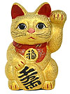 Gold Color, Maneki Neko Lucky Cat w/ Left Hand Raised, 8