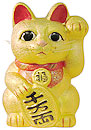 Gold Color, Maneki Neko Lucky Cat w/ Left Hand Raised, 10
