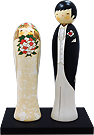 Wedding Kokeshi Doll Set, Western Bride and Groom, 9.4 H