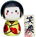 Smiling Face, Kokeshi Doll, 4.4 H