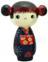 Girl with Two Side Hair Buns, Kokeshi Doll 5.4 H