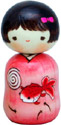 Japanese Creative Kokeshi Doll, Goldfish Girl 4.6 H